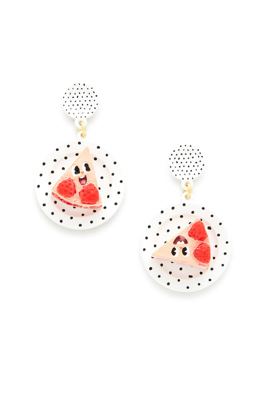 Happy Strawberry Cake Slice Earrings