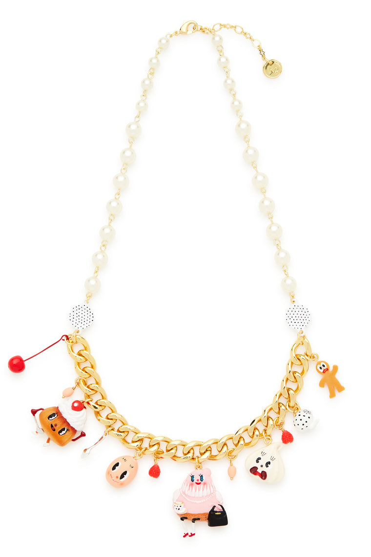 Gold and Pearl Tea Time Charm Necklace