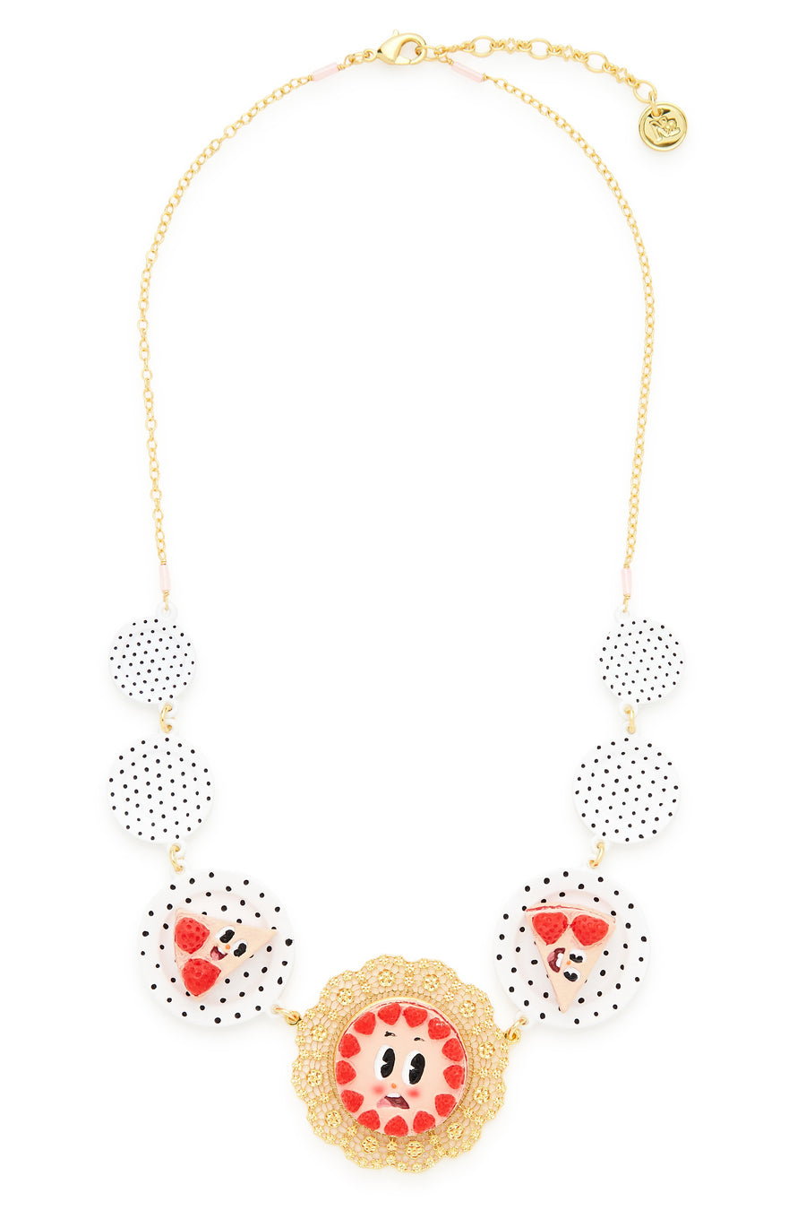 Strawberry Cake and Plates Necklace