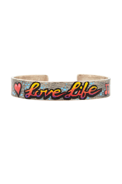Sterling Silver Love Life Graffiti Bracelet