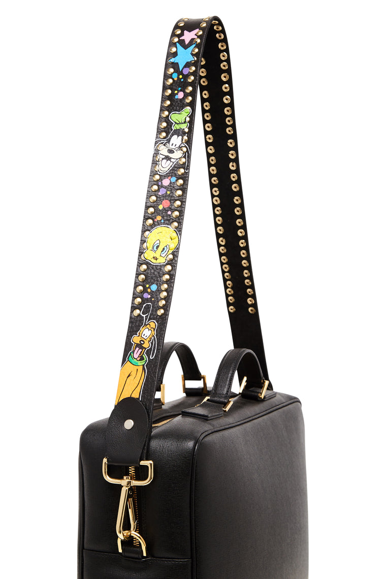 Black Custom Donald Character Graffiti Bag Strap