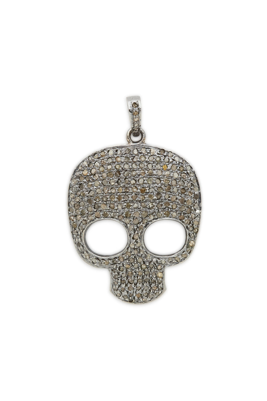 Sterling Silver Diamond Skull Pendant