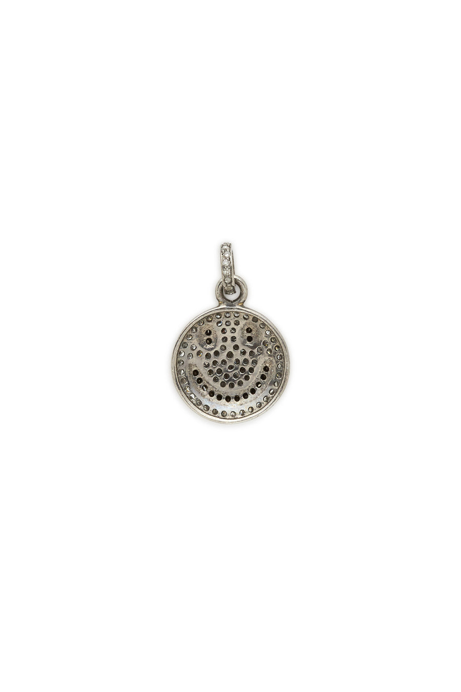 Sterling Silver Diamond Smiley Face Pendant