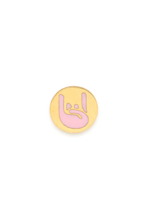 18K Gold & Enamel Magnetic Emoji Charm - Rock On