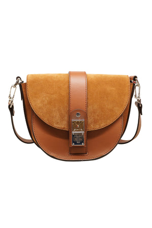 PS11 Small Saddle Leather Suede Bag in Chocolate