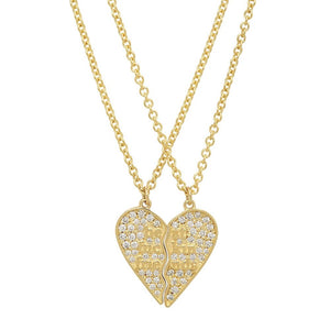 14K Yellow Gold with Diamonds Mini BFF 2-Piece Broken Heart Necklace - Final Sale