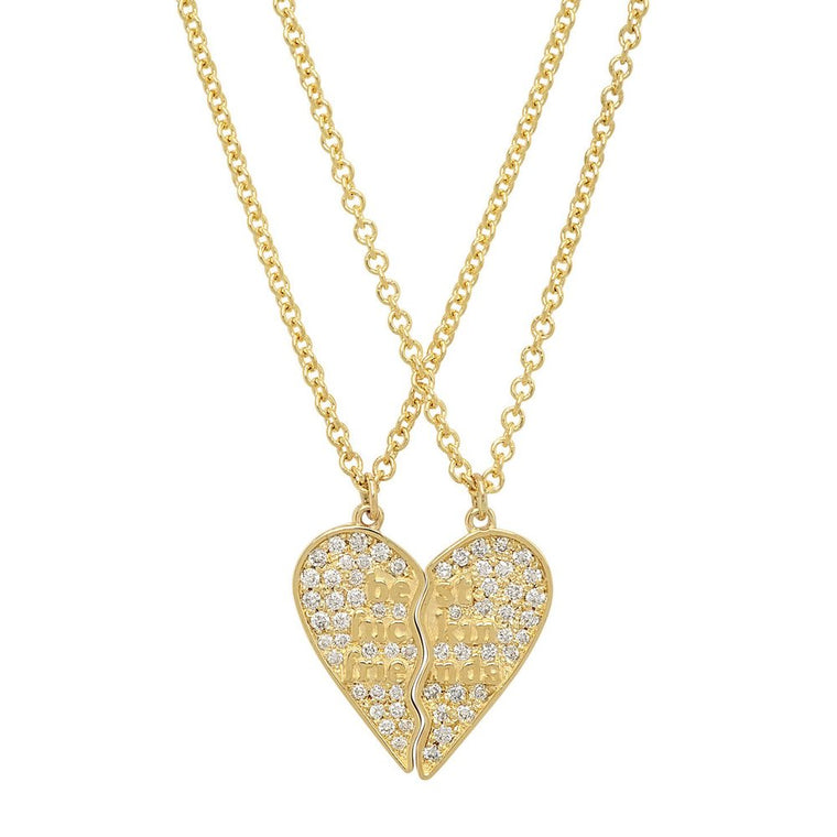 14K Yellow Gold with Diamonds Mini BFF 2-Piece Broken Heart Necklace