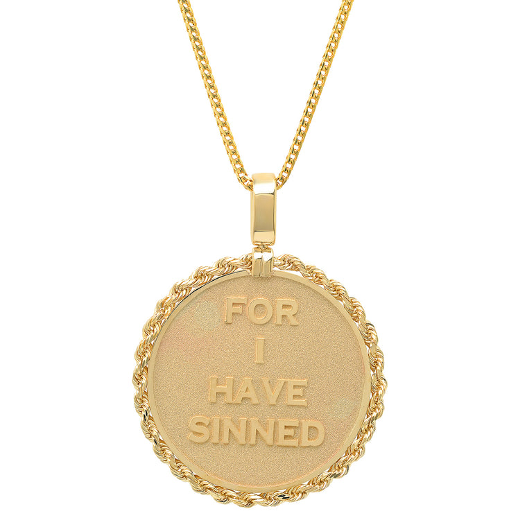 "14K Yellow Gold ""Forgive Me Father"" Pendant Necklace"
