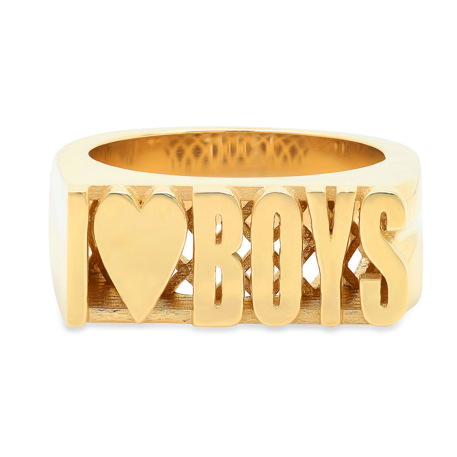 14K Yellow Gold I Heart Boys Ring - SZ 7