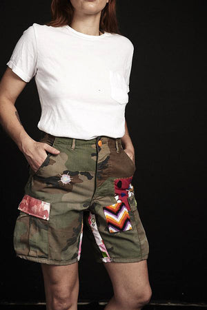 Atelier & Repairs Green Camo LSD Patch Embroidered Cargo Shorts