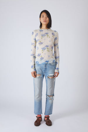 Flower Print Openwork Knit Sweater