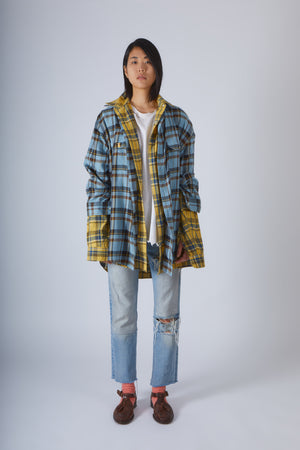Oversized Reversible Shirt in Yellow and Blue Check