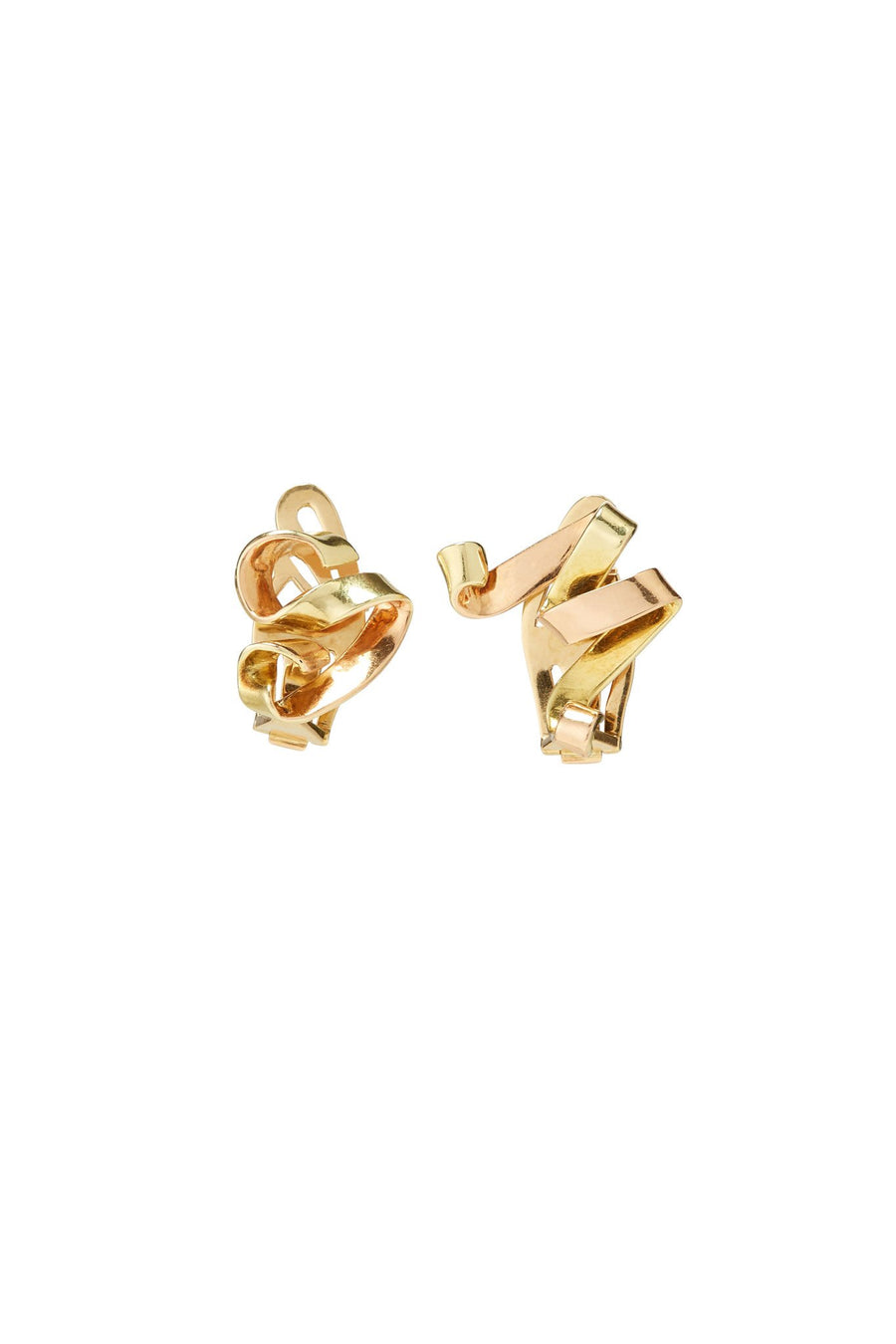 Paul Flato 14K Gold S & M Clip Earrings
