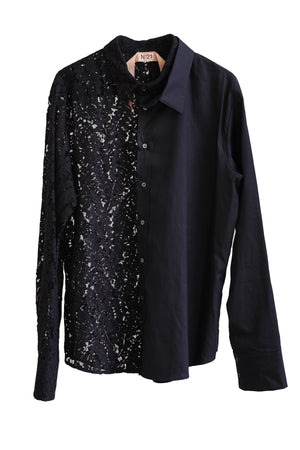 Lace Button Down Shirt in Black