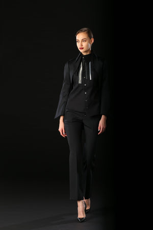 Shiro Sakai Asymmetric Tux Front Shirt in Black