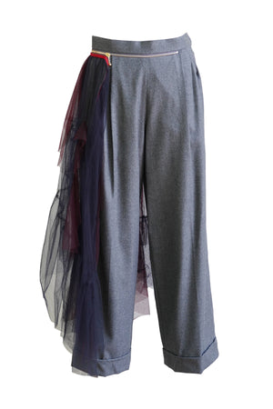 Wool Tulle Zipper Pant in Gray
