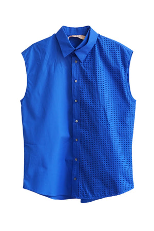 Sleeveless Perforated Button Down Top in Bluette