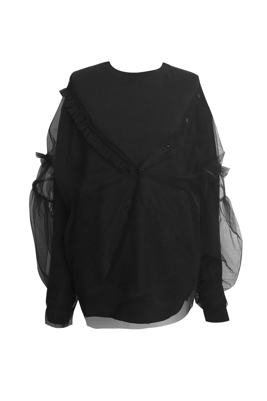 Tulle Shirt Attached to Sweatshirt in Black