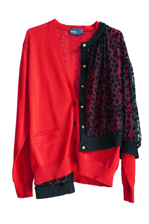 Flock Print Button Up Cardigan in Red and Black