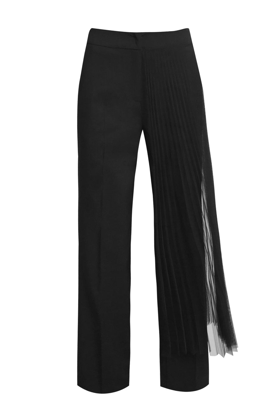 Pants with Plisse in Black