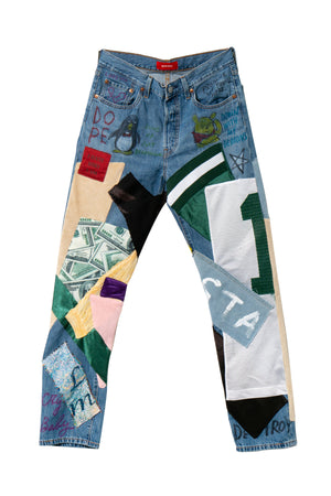 Re-Worked Multi Patch Denim Jean - Dope