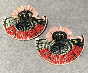 "Black & Ivory ""Dope Queen"" Lenticular Fan Earrings"