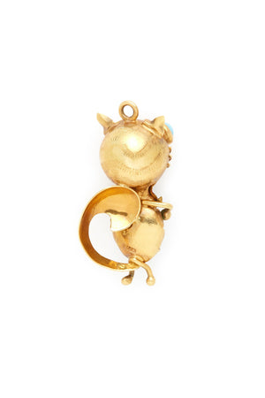 18K Gold Blue Eyed Cat Charm