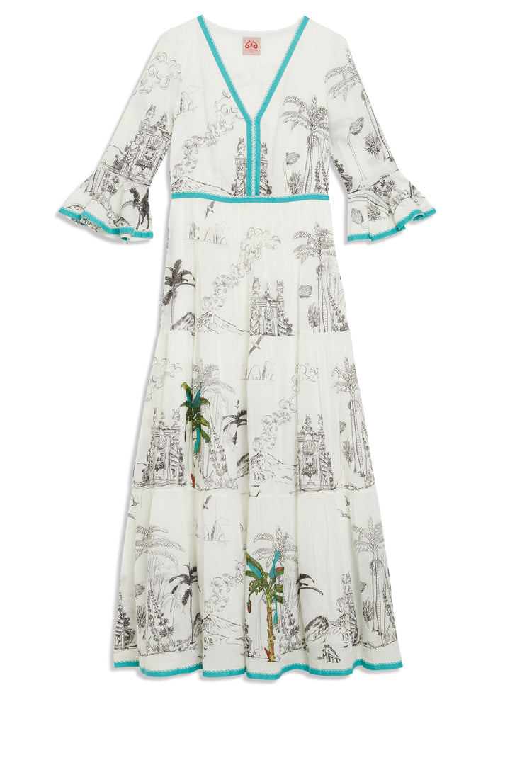 LA SIRENUSE BELLA PREHISTORIC POSITANO DRESS NEXT VOILE IN WHITE