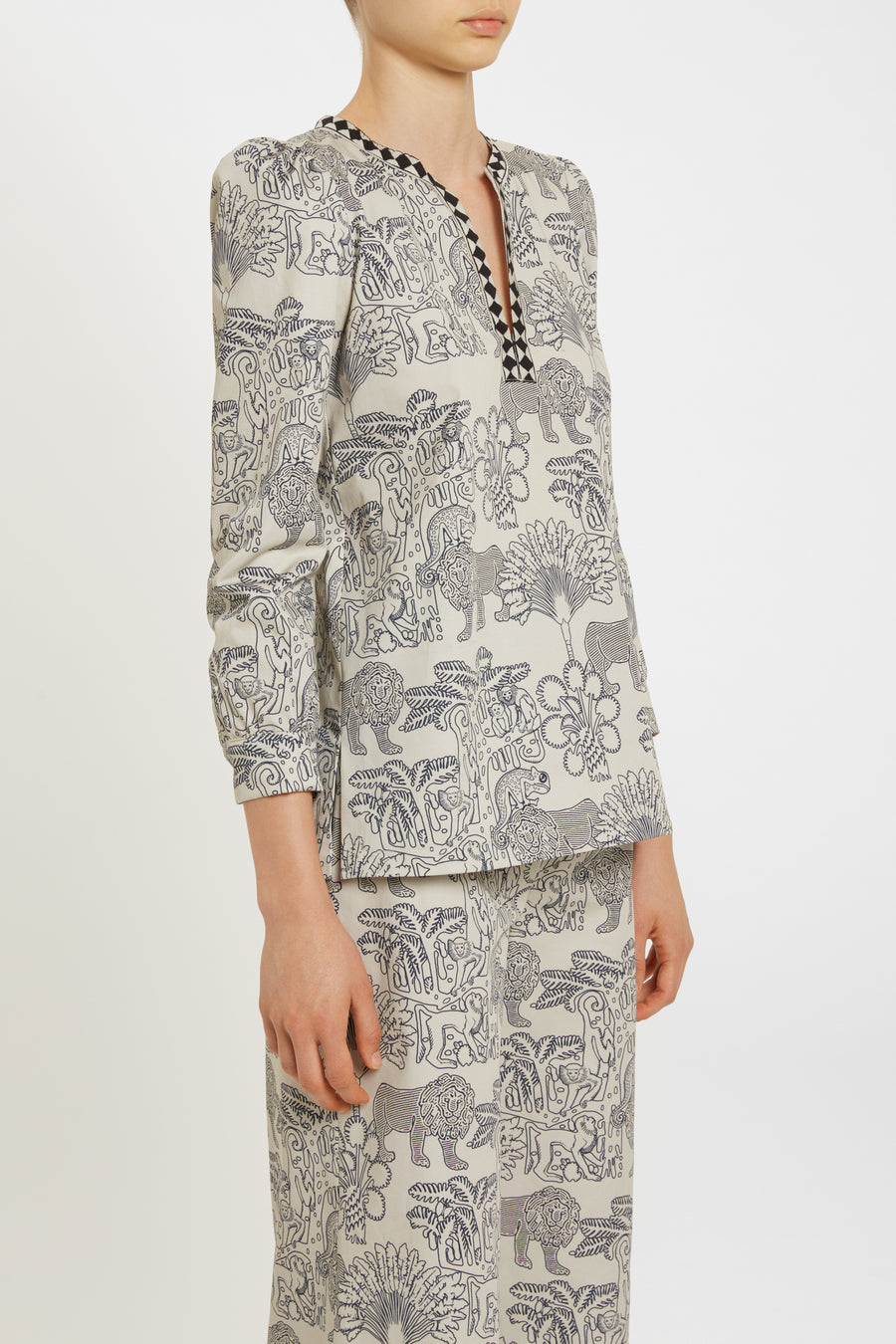 LE SIRENUSE Kate 2 Lion And Monkey Shirt Cotton Drill in Dark Blue