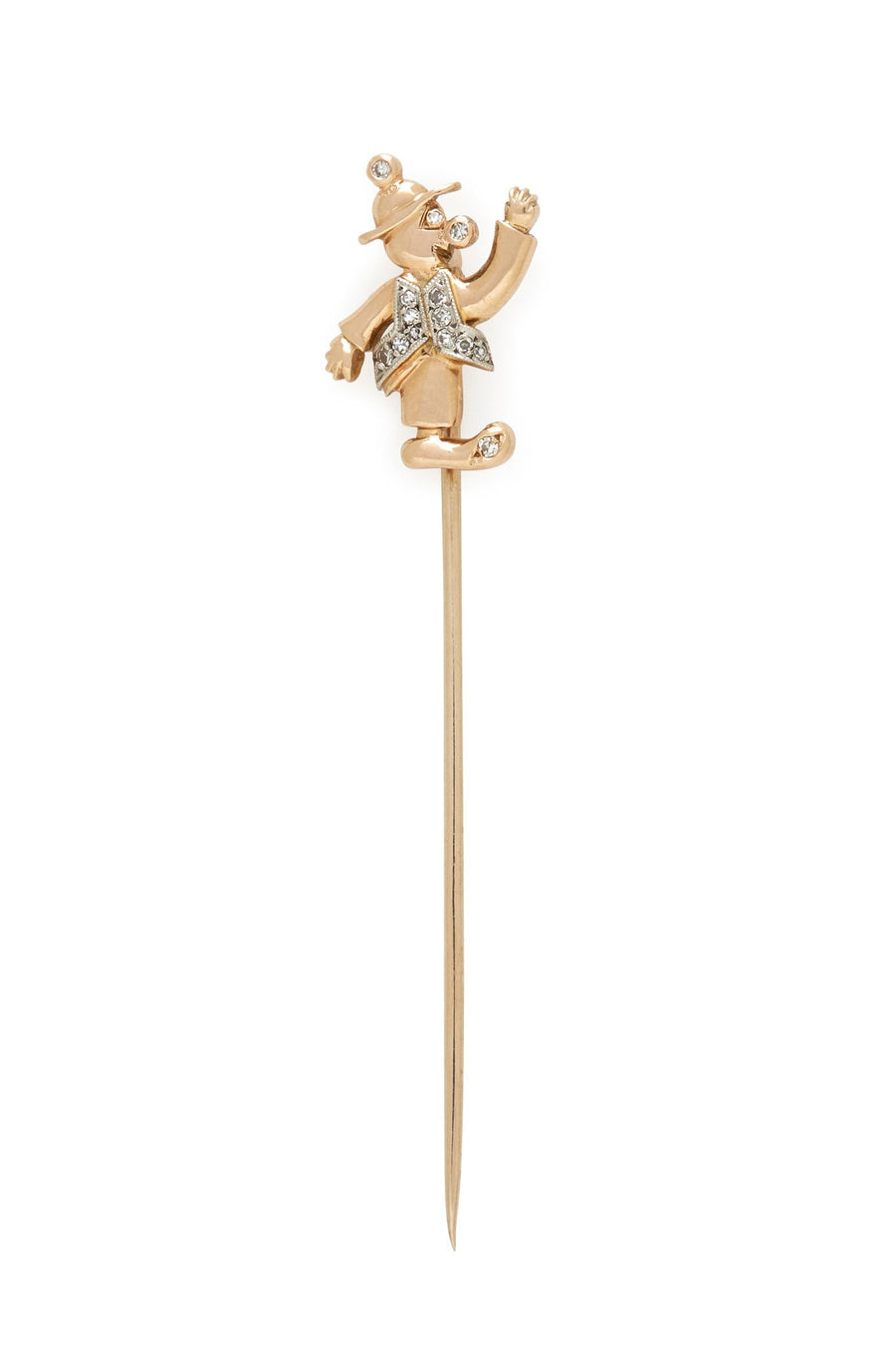 14K Gold & Diamonds Clown Stick Pin