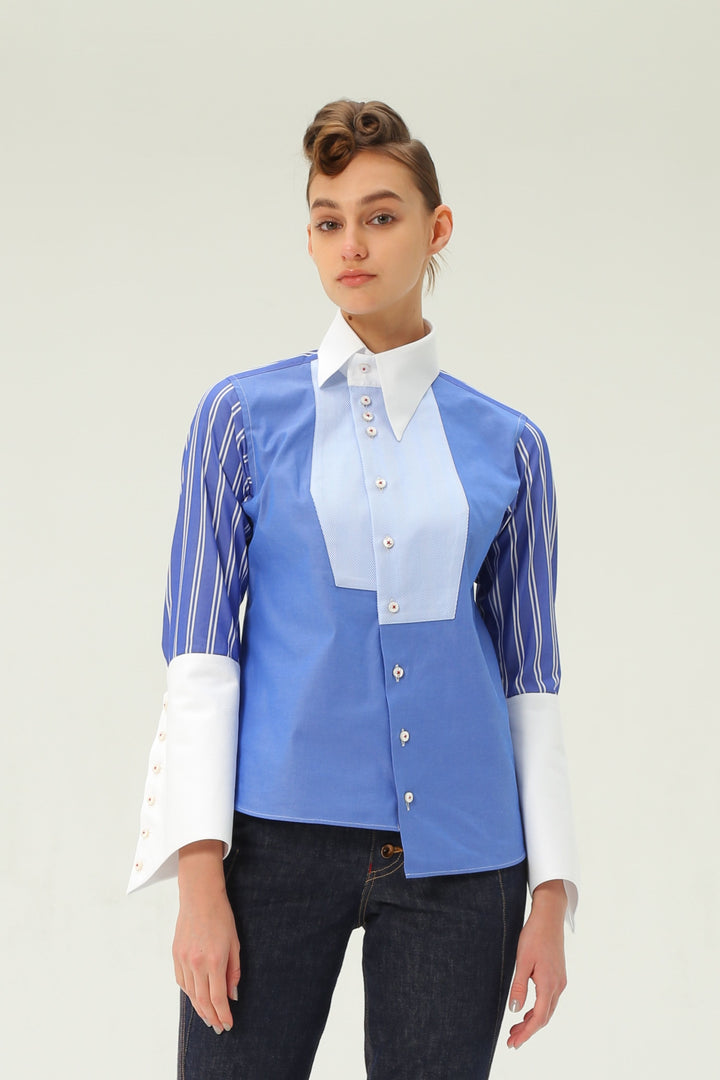 Shiro Sakai Asymmetric Tux-Front Shirt in Blue