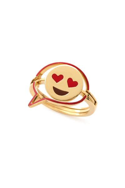 18K Gold and Red Enamel Talk Bubble Interchangeable Emoji Ring