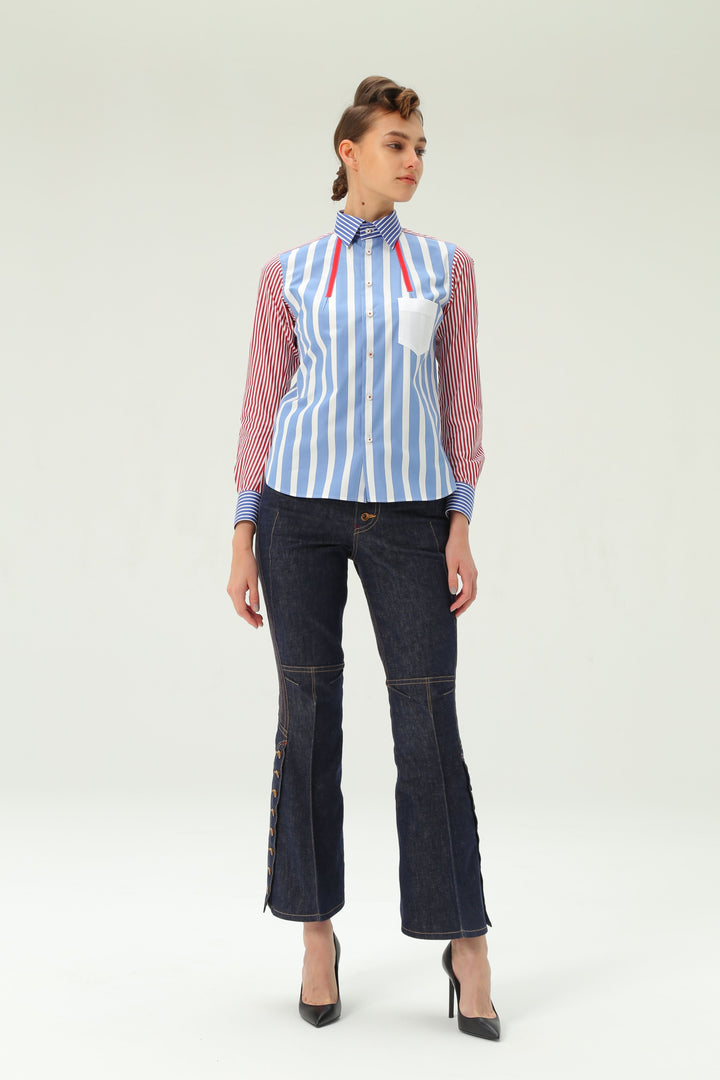 Shiro Sakai Classic Standard Shirt in Blue Stripe