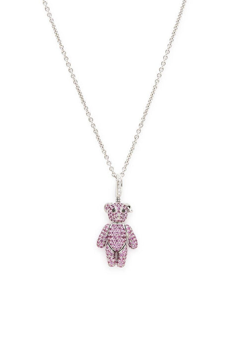 18K White Gold with Pave Pink Sapphires Bo Bo Bear Necklace