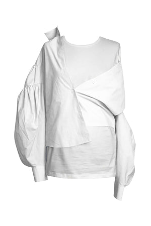 Poplin Shirt Attached to T-Shirt in White