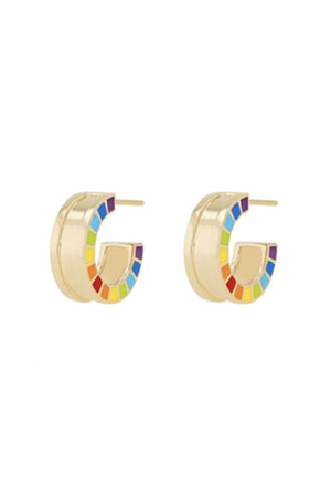 ME Yellow Gold Enamel Earrings