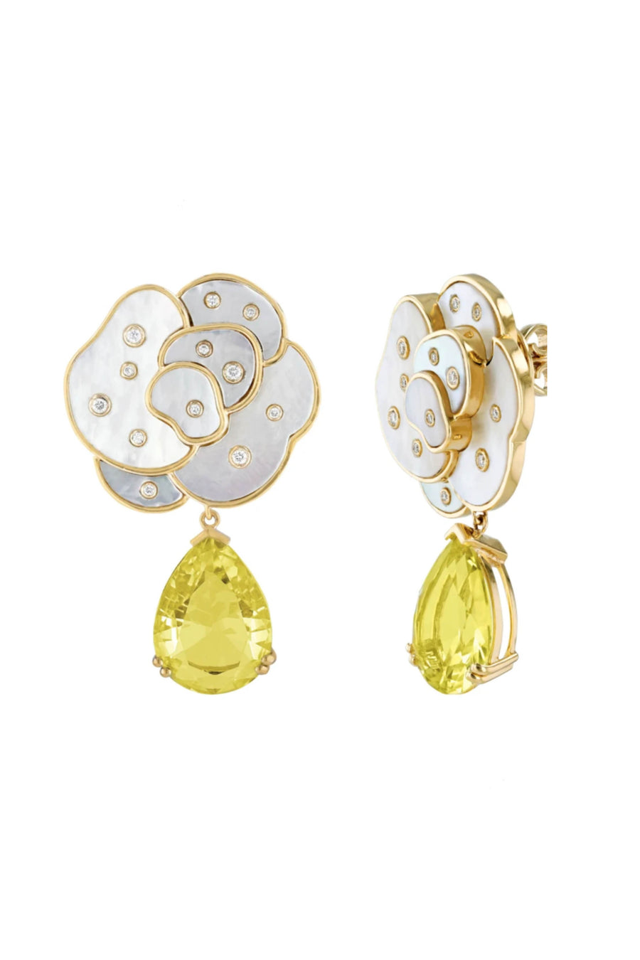 Mother of Pearl and Yellow Quartz Earrings
