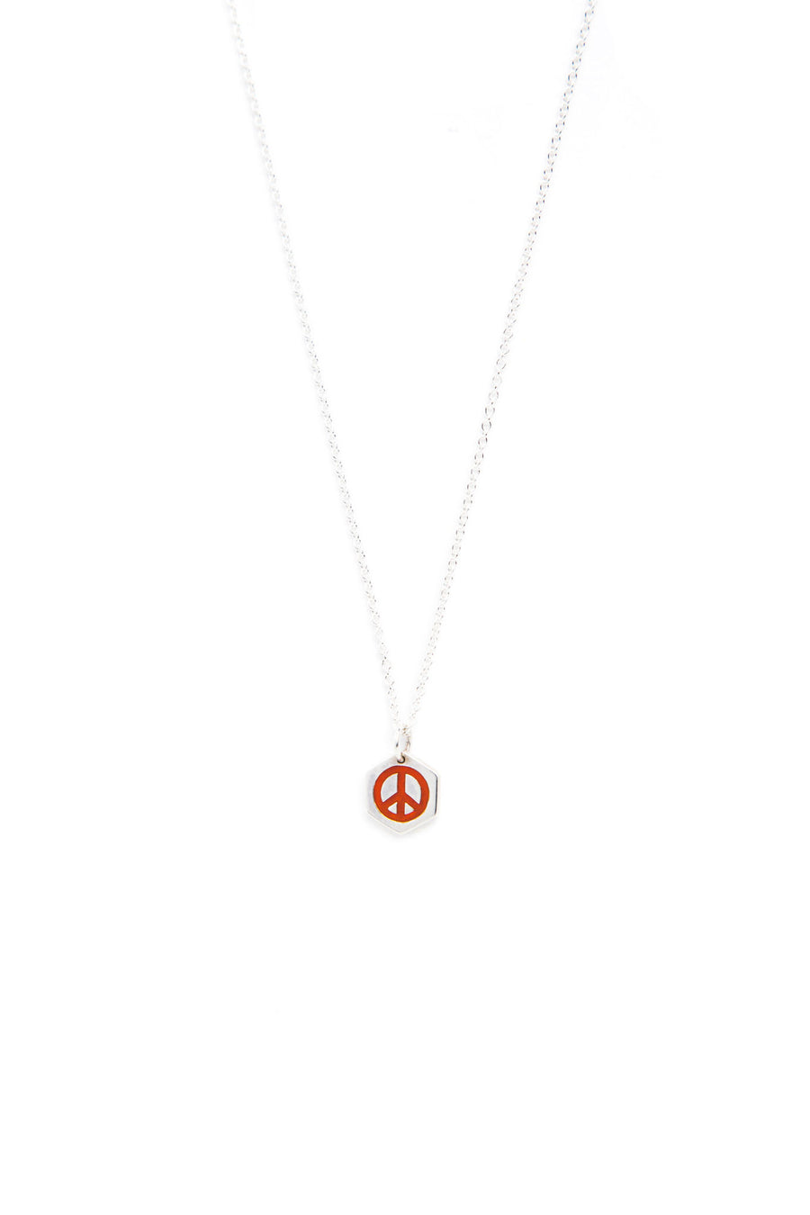 Sterling Silver and Orange Lacquer Peace Sign Necklace