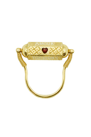 "9K Gold Ruby and Diamond ""Toujours Amour"" Locket Ring"