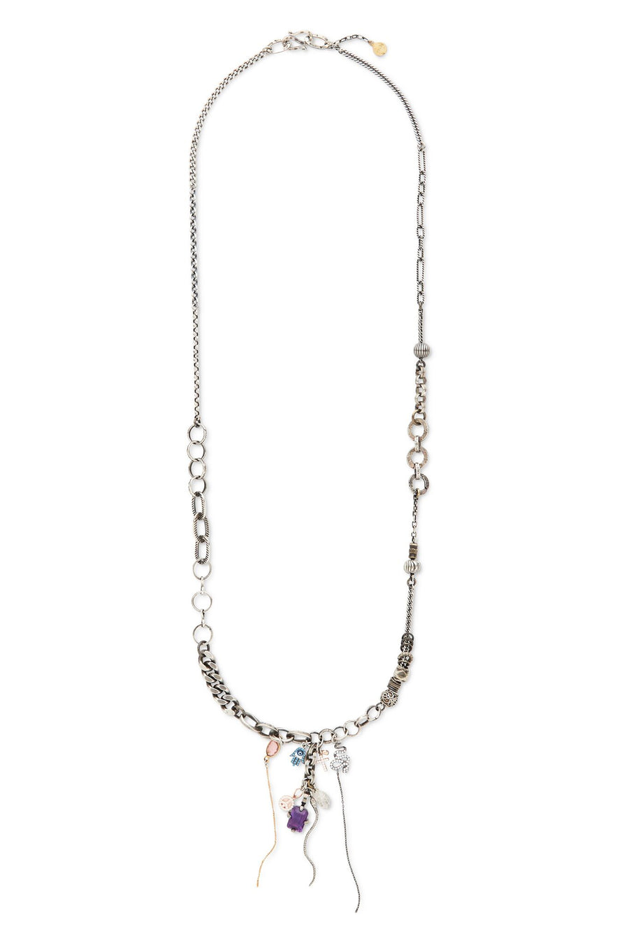 Sterling Silver with Multi Stones, Diamonds, and Chains Linga Necklace