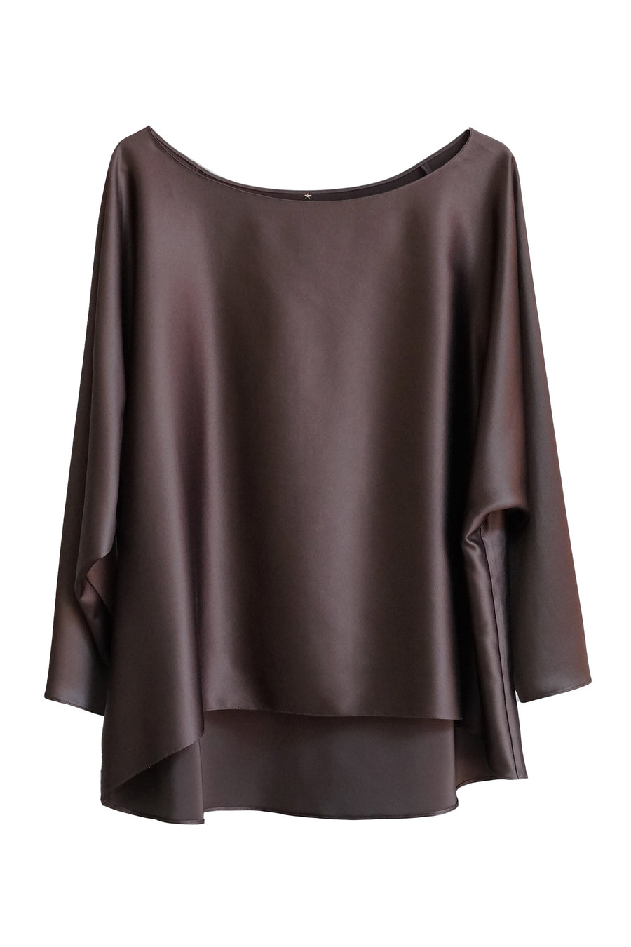 Chocolate Brown Silk 3/4 Sleeve Sway Top