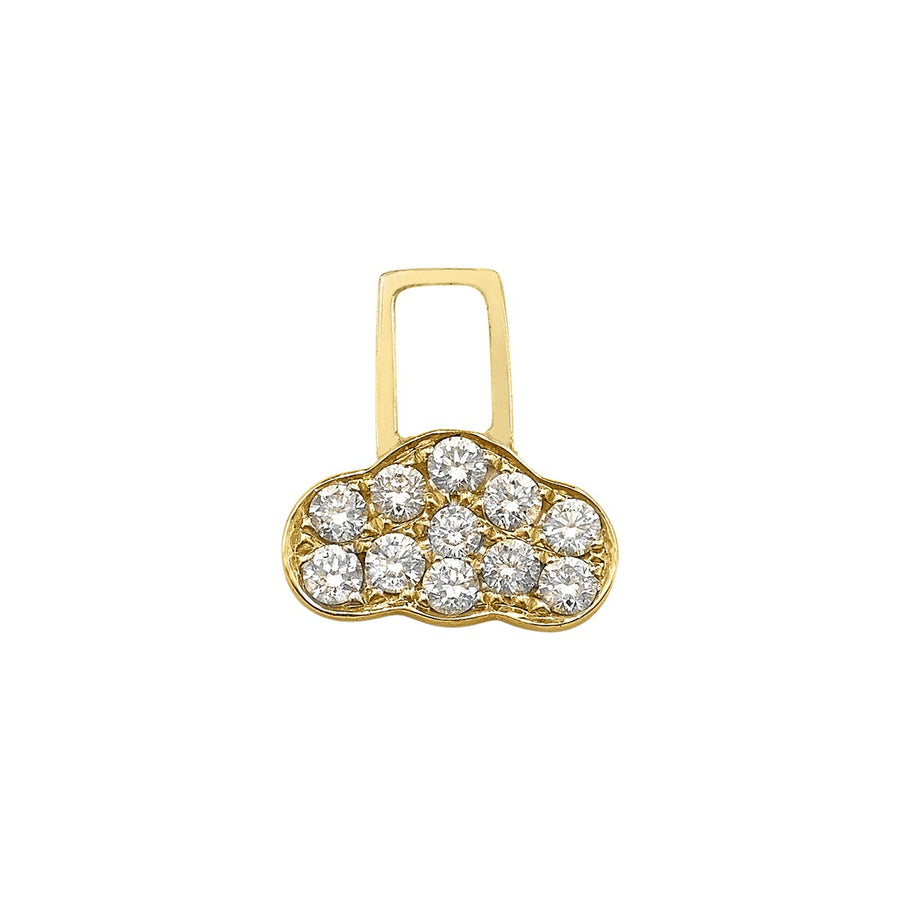 14K Yellow Gold with Diamonds Cloud Charm For Hoop Earring