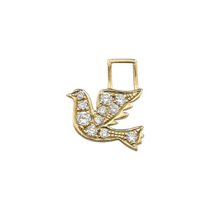 14K Yellow Gold with Diamonds Left Dove Charm For Hoop Earring
