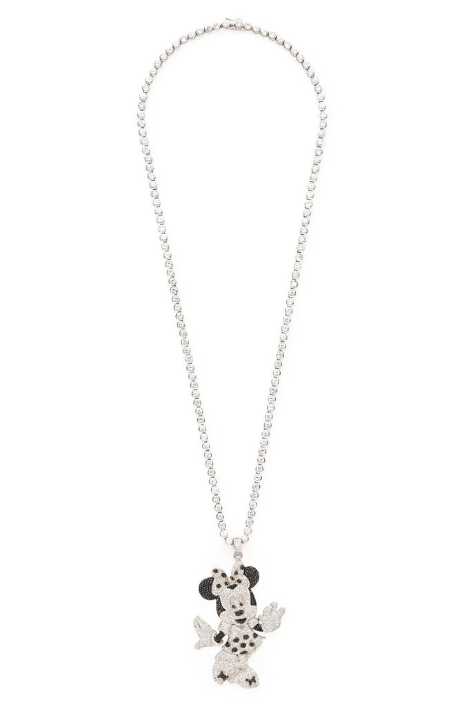 Sterling Silver and Swarovski Crystal Minnie Mouse Necklace