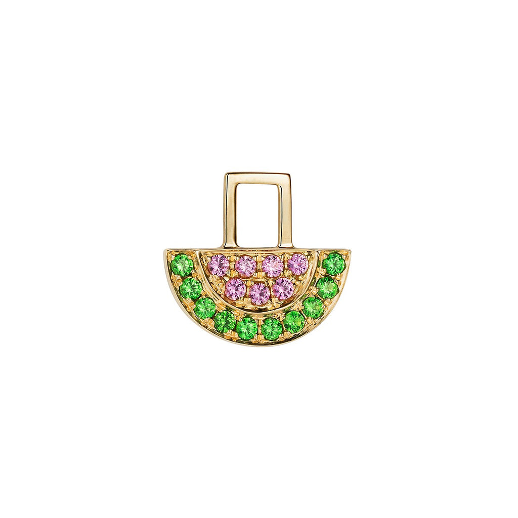 14K Yellow Gold with Pink Sapphires and Tsavorites Watermelon Charm For Hoop Earring