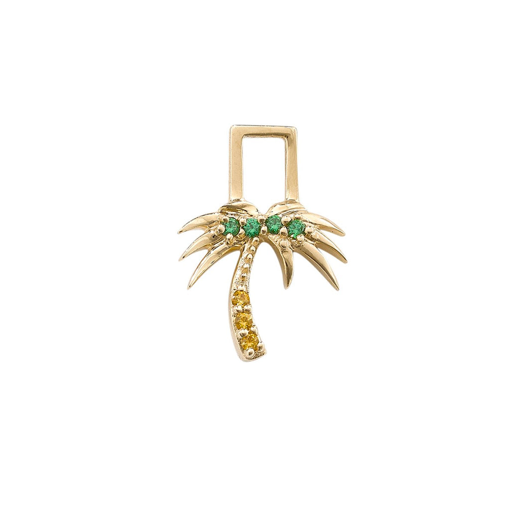 14K Yellow Gold with Tsavorites and Yellow Sapphires Palm Tree Charm For Hoop Earring