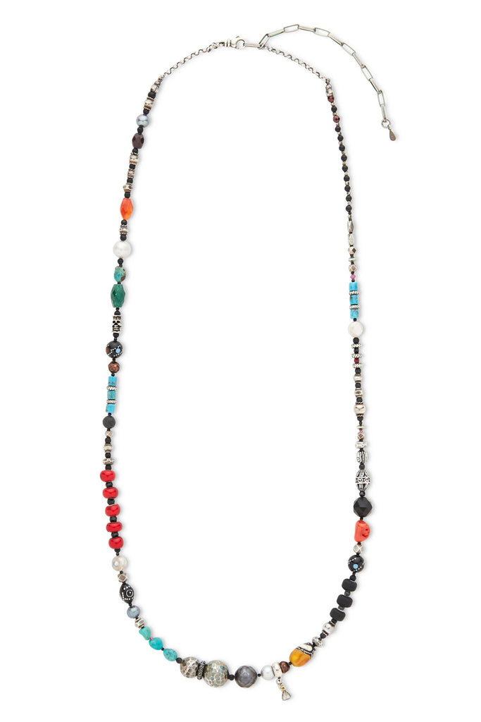Sterling Silver Multi Beads, Diamond Chain Necklace
