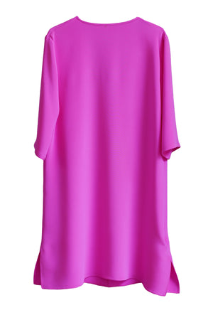 Hot Pink Silk Short Sleeve Shirt Dress