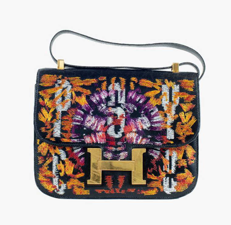 Black Leather Hermes Constance 23 cm with Tie Dye and Text Embroidery
