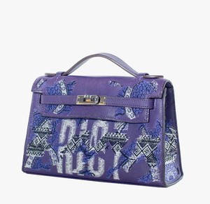 "Purple Leather Kelly Pochette with African Pattern & Text Embroidery ""Riot"" Bag"